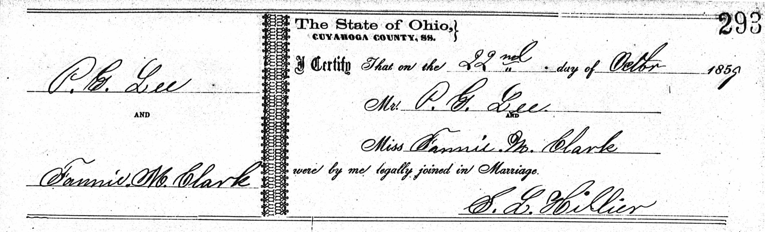 Marriage certificate of Dr. Pleasant Lee & Fannie Mahalia Clark