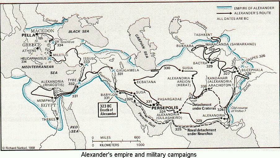 Map of Alexander the Great's Campaigns