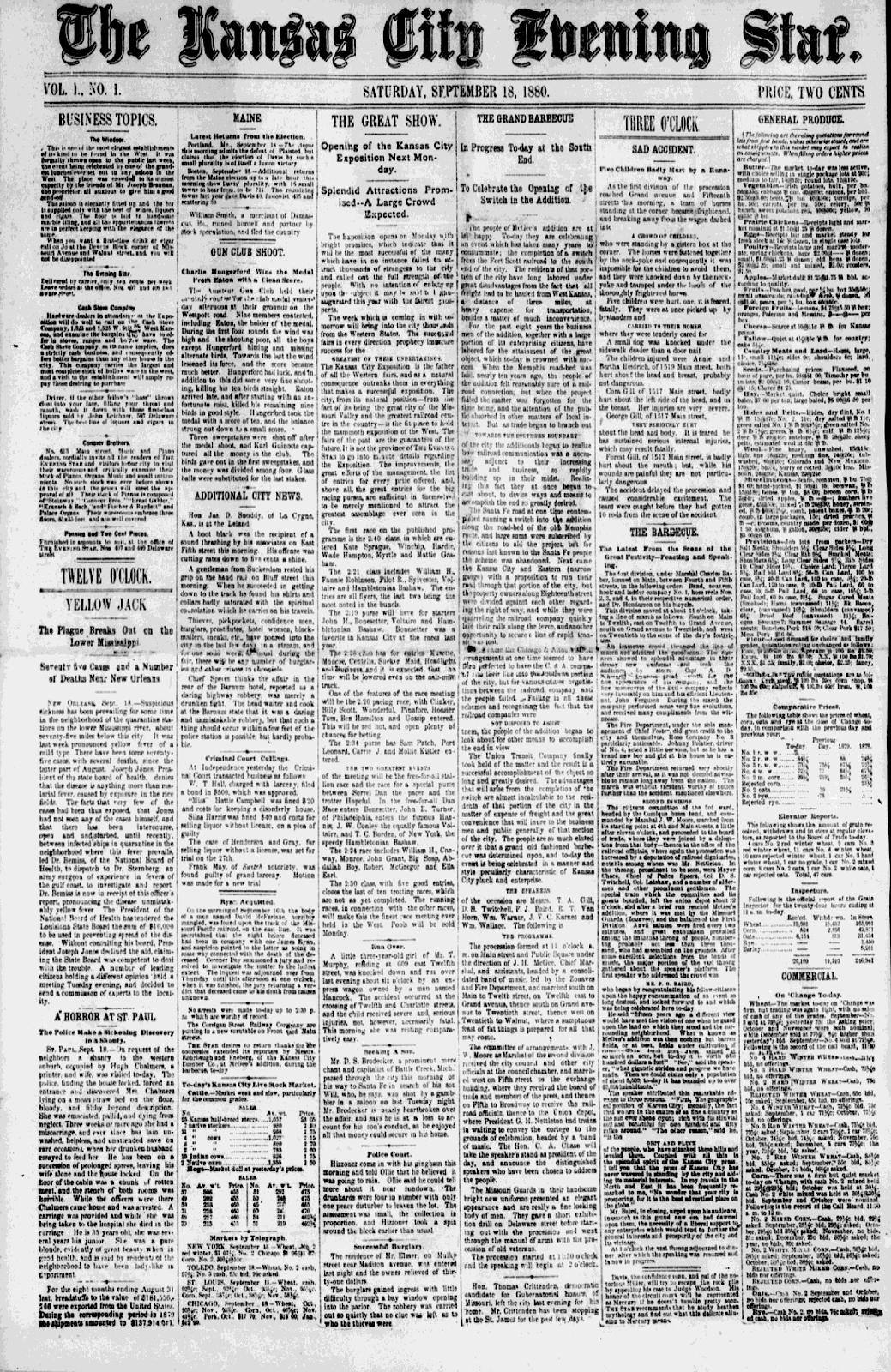 Kansas City Evening Star first edition 1880