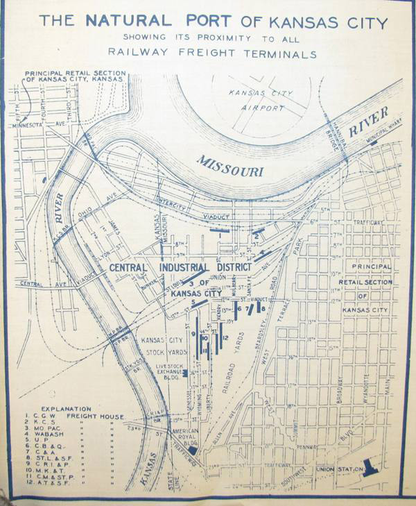 Map of the West Bottoms (also known as the Central Industrial District), ca. 1930