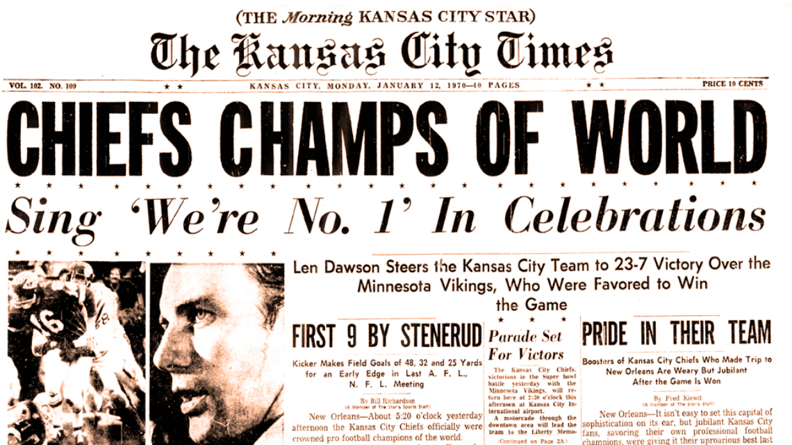 Kansas City Times Superbowl Win 1970