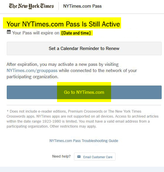Nytimes.com active pass login screen
