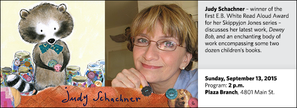 Judy Schachner – winner of the first E.B. White Read Aloud Award  for her Skippyjon Jones series – discusses her latest work, Dewey Bob, and an enchanting body of work encompassing some two dozen children's books.