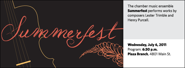 The chamber music ensemble Summerfest performs works by composers Lester Trimble and Henry Purcell.