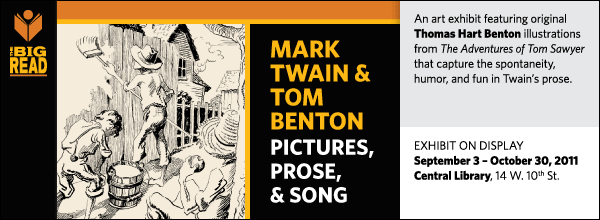 An art exhibit featuring original Thomas Hart Benton illustrations from The Adventures of Tom Sawyer that capture the spontaneity, humor, and fun in Twain's prose.