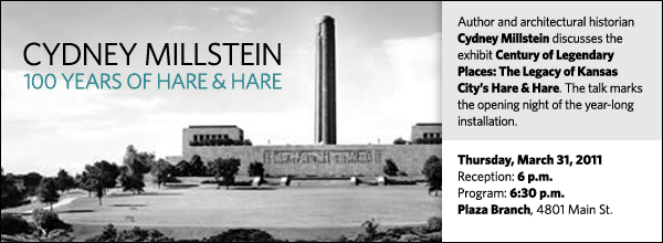 Author and architectural historian Cydney Millstein discusses the exhibit Century of Legendary Places: The Legacy of Kansas City's Hare & Hare. The talk marks the opening night of the year-long installation.