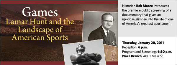 Historian Bob Moore introduces the premiere public screening of a documentary that gives an up-close glimpse into the life of one of America's greatest sportsmen.