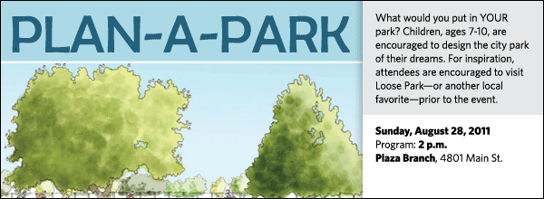 What would you put in YOUR park? Children, ages 7-10, are encouraged to design the city park of their dreams. For inspiration, attendees are encouraged to visit Loose Park—or another local favorite—prior to the event.