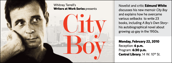 Novelist and critic Edmund White discusses his new memoir City Boy and explains how he overcame  various setbacks  to write 23 books, including A Boy's Own Story– his autobiographical novel about growing up gay in the 1950s.
