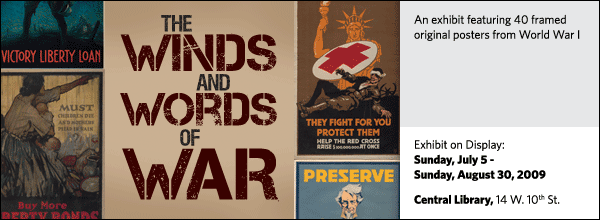 An exhibit featuring 40 framed original posters from World War I