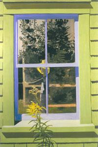 Lois Dodd - Self-Portrait in Green Window (1971)