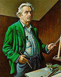 Postcard of a 1970 self-portrait by Thomas Hart Benton