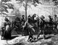 """Negro Exodusters en route to Kansas, fleeing from the yellow fever, "" Photomural from engraving. Harpers Weekly, 1870. Historic American Building Survey Field Records, HABS FN-6, #KS -49-11 Prints and Photographs Division (106)"