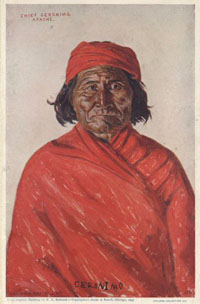 Reproduction of a portrait painting of Apache Chief Geronimo, by E.A. Burbank. Fort Sill, O.T. [Oklahoma Territory], 1898