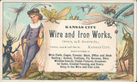 Advertising card for Kansas City Wire and Iron Works, circa 1890s