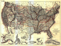 Map showing major explorers' routes across the United States