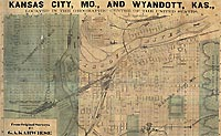 1871 Map of Kansas City, Missouri, and Wyandott City, Kansas