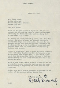 Letter from Walt Disney