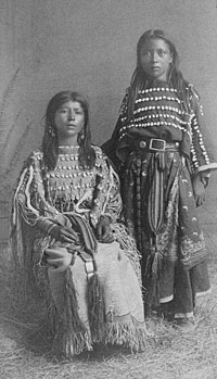 Two Kiowa girls, ca. 1890. W.L. Sawyers Indian Art Gallery, Purcell, Indian Territory