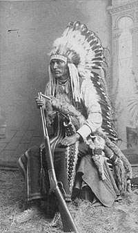 Portrait of Chief Lone Wolf, a Kiowa, ca. 1890. W.L. Sawyers Indian Art Gallery, Purcell, Indian Territory