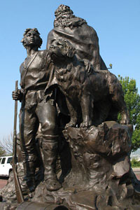 Statue honoring York (Lewis and Clark) and Seaman (Newfoundland dog) on Quality Hill in Kansas City, Missouri