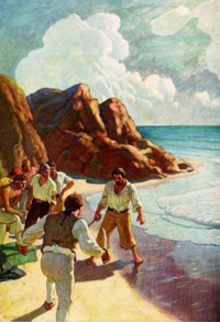 Men Against the Sea illustration by N.C. Wyeth