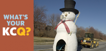 What happened to the snowman that was displayed in Gillham Park?