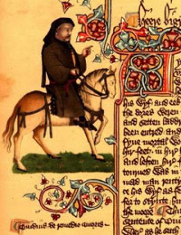 classic review the canterbury tales by geoffrey chaucer kansas chaucer depicted in the ellesmere manuscript of tales