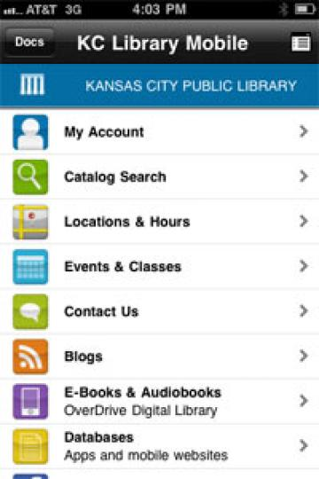 KC Library app screen