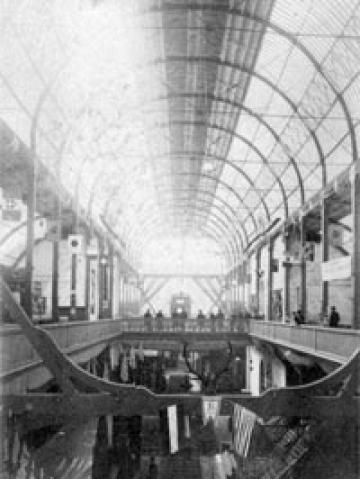 Interior view of the Exposition Building, also known as the Crystal Palace