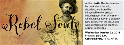 Author Justin Martin discusses his book about the wild, decadent, and incredibly influential band of artists – including poet Walt Whitman – who hung out at Pfaff's saloon in New York City in the 1850s and were considered the country's original Bohemians.
