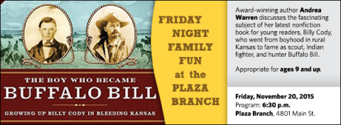 Award-winning author Andrea Warren discusses the fascinating subject of her latest nonfiction book for young readers, Billy Cody, who went from boyhood in rural Kansas to fame as scout, Indian fighter, and hunter Buffalo Bill.  Appropriate for ages 9 and up.