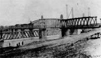 Hannibal Bridge, looking northeast from the south side of the Missouri River.