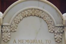 James M Greenwood  Memorial Chair detail