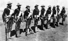 F Company, 24th Infantry, at Fort Bayard, New Mexico, 1892 (Original Image Courtesy National Archives and Records Administration)