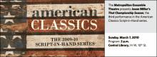 The Metropolitan Ensemble Theatre presents Jason Miller's That Championship Season, the third performance in the American Classics Script-in-Hand series.