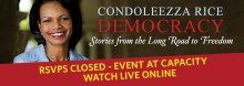 Former U.S. Secretary of State Condoleezza Rice joins Library Director Crosby Kemper III in a wide-ranging discussion revolving around her new book Democracy: Stories from the Long Road to Freedom.