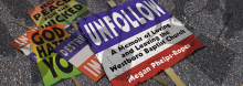 Megan Phelps-Roper, granddaughter of the late Fred Phelps, discusses his incendiary Westboro Baptist Church, her onetime embrace of a role as one of its most visible spokespersons, and her decision in November 2012 to break away – all detailed in her new memoir Unfollow.