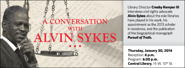 Library Director Crosby Kemper III interviews civil rights advocate Alvin Sykes about the role libraries have played in his work, his appointment as the 2013 scholar in residence, and the publication of the biographical monograph Pursuit of Truth.