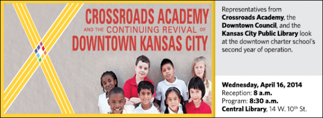 Representatives from Crossroads Academy, the Downtown Council, and the Kansas City Public Library look at the downtown charter school's second year of operation.