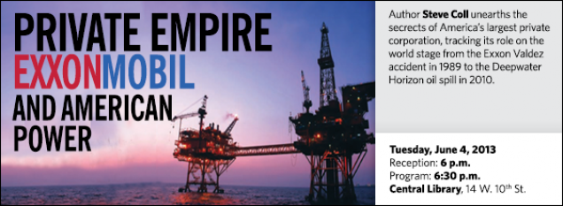 Author Steve Coll unearths the secrects of America's largest private corporation, tracking its role on the world stage from the Exxon Valdez accident in 1989 to the Deepwater Horizon oil spill in 2010.