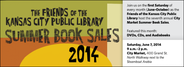 Join us on the first Saturday of every month (June-October) as the Friends of the Kansas City Public Library host the seventh annual City Market Summer Book Sales. Featured this month: DVDs, CDs, and Audiobooks