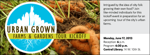 Intrigued by the idea of city folk growing their own food? Join like-minded individuals for this kickoff event in preparation for an upcoming  tour of the city's urban farms.