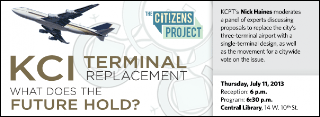 KCPT's Nick Haines moderates a panel of experts discussing proposals to replace the city's three-terminal airport with a single-terminal design, as well as the movement for a citywide vote on the issue.