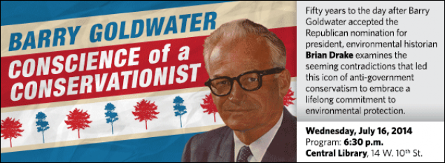 Fifty years to the day after Barry Goldwater accepted the Republican nomination for president, environmental historian Brian Drake examines the seeming contradictions that led this icon of anti-government conservatism to embrace a lifelong commitment to environmental protection.
