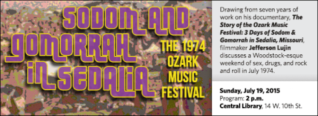 Drawing from seven years of work on his documentary, The Story of the Ozark Music Festival: 3 Days of Sodom & Gomorrah in Sedalia, Missouri, filmmaker Jefferson Lujin discusses a Woodstock-esque weekend of sex, drugs, and rock and roll in July 1974.
