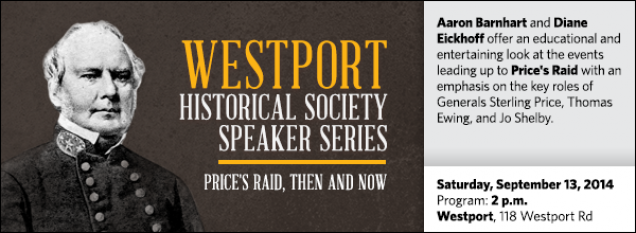 Aaron Barnhart and Diane Eickhoff offer an educational and  entertaining look at the events leading up to Price's Raid with an emphasis on the key roles of Generals Sterling Price, Thomas Ewing, and Jo Shelby.