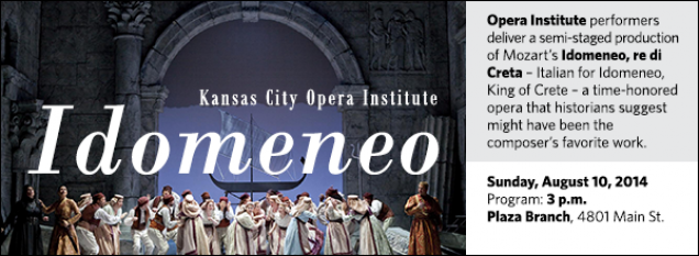 Opera Institute performers deliver a semi-staged production of Mozart's Idomeneo, re di Creta – Italian for Idomeneo, King of Crete – a time-honored opera that historians suggest might have been the composer's favorite work.