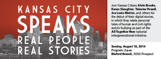Join Kansas Citians Alvin Brooks, Karen Slaughter, Telester Powell, Joe Louis Mattox, and others for the debut of their digital stories, in which they relate personal tales of human and civil rights and/or bullying as part of the All Together Now national intergenerational initiative.
