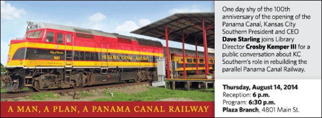 One day shy of the 100th anniversary of the opening of the Panama Canal, Kansas City Southern President and CEO Dave Starling joins Library Director Crosby Kemper III for a public conversation about KC Southern's role in rebuilding the parallel Panama Canal Railway.